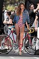 gigi hadid bares her long legs in a one piece swimsuit 01