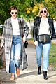 lucy hale looks chic in long checked coat while out to lunch 17