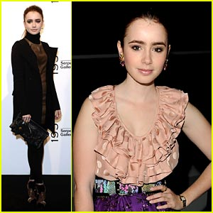 Lily Collins Checks out London Fashion Week