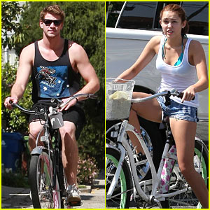 Miley Cyrus &#038; Liam Hemsworth: Biking Buddies
