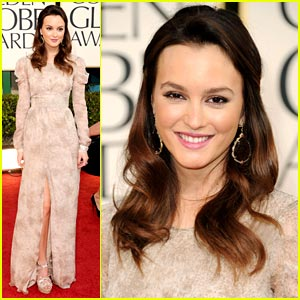 Leighton Meester: Burberry Prorsum Pretty at the Golden Globes