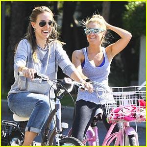 Ashley Tisdale & Haylie Duff Bike Around The Block