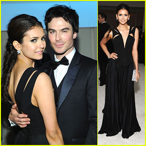 Nina Dobrev: Elton John AIDS Oscar Party with Ian Somerhalder