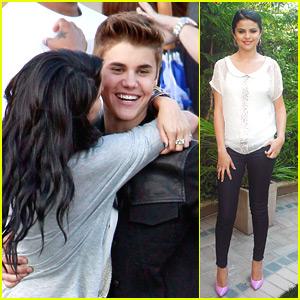 Selena Gomez Surprises Justin Bieber On Set