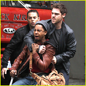 Grey Damon & Brandon T. Jackson: 'Percy Jackson' Fight Scene!