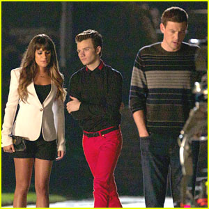 Lea Michele: 'Glee' Late Night Shoot with Cory & Chris