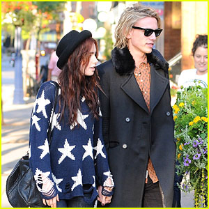 Lily Collins & Jamie Campbell Bower: Holding Hands