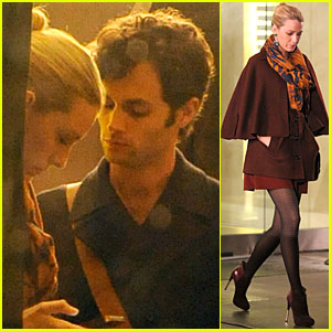 Blake Lively & Penn Badgley: 'Gossip Girl' Night Shoot!
