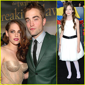 Kristen Stewart &#038; Robert Pattinson: 'Breaking Dawn' Premiere with Mackenzie Foy