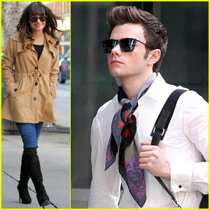 Lea Michele &#038; Chris Colfer: 'Glee' Set Breaks in L.A!