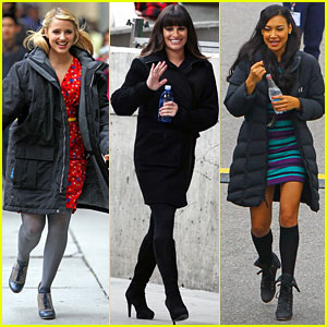Lea Michele &#038; Dianna Agron: 'Glee' Set with Naya Rivera!