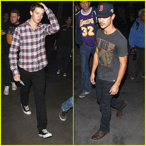 Taylor Lautner &#038; Patrick Schwarzenegger: Lakers Game Guys