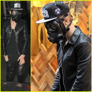 Justin Bieber Wears Gas Mask While Shopping