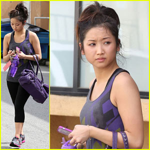 Brenda Song: Purple Gym Gear
