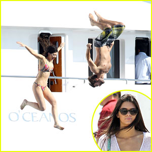 Kylie Jenner: High Dives Off A Yacht in Greece!