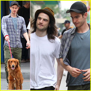 Andrew Garfield Walks His Dog with Tom Sturridge