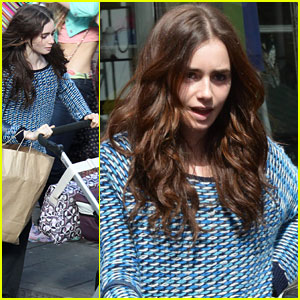 Lily Collins Pushes Stroller on 'Love, Rosie' Set