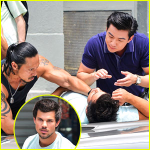 Taylor Lautner: Roughed Up on 'Tracers' Set