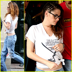 Kristen Stewart Wears Band Shirt After Fashion Show