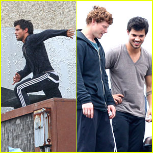 Taylor Lautner: Rooftop Jump for 'Tracers'