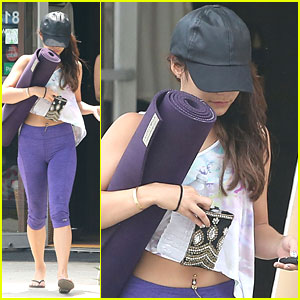 Vanessa Hudgens: Purple Pretty for Yoga Class