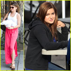 Sarah Hyland Stops at Salon, Ariel Winter Films 'Modern Family'