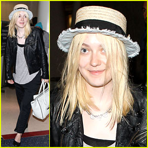 Dakota Fanning: Frayed Brim Hat at LAX