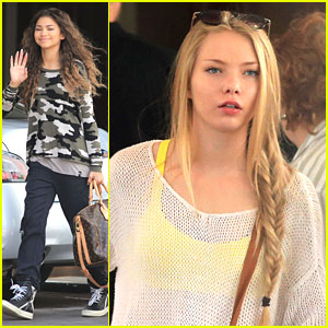 Zendaya & Emilia McCarthy Head To 'Unleashed' Set