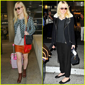 Dakota & Elle Fanning: Separate Airport Landings