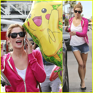 Ashley Greene: Balloon & Food Pick Up Before Party
