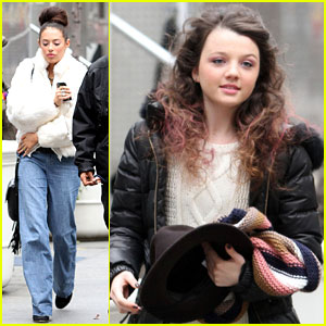 Chloe Bridges & Stefania Owen: Snowy 'Carrie Diaries' Day in NYC