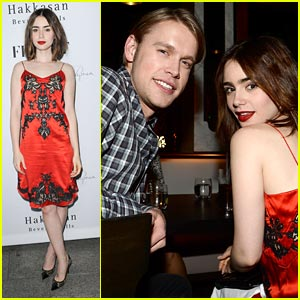 Lily Collins: Flaunt Magazine Party with Chord Overstreet