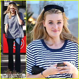 AJ Michalka Wears Black Birdcage Veil
