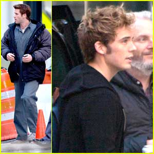 Liam Hemsworth & Sam Claflin Arrive At 'The Hunger Games: Mockingjay - Part 1' Set