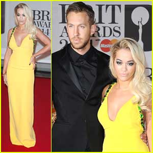 Rita Ora Supports Calvin Harris at BRIT Awards 2014