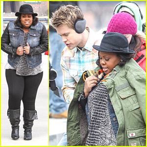 Chord Overstreet Warms Our Hearts, Offers Amber Riley His Coat on 'Glee' NYC Set