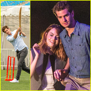 Andrew Garfield Plays Cricket Before Earth Hour Celebration with Emma Stone