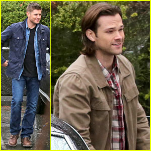 Jared Padalecki & Jensen Ackles Film Rainy Day 'Supernatural' Scenes