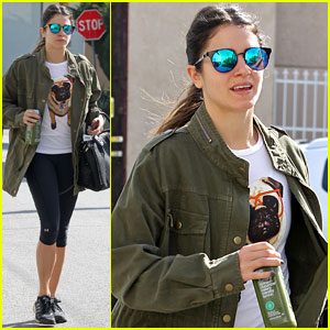 Nikki Reed shows her love for dogs with a cute Pug shirt while walking to the gym for a workout ...