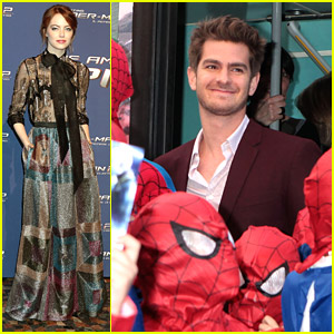 Andrew Garfield Gets Surrounded By Mini Spider-Mans at Rome Premiere with Emma Stone
