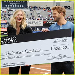 Kellan Lutz & Model Tori Praver Present Yankees Foundation with 10K!