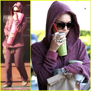 Vanessa Hudgens Goes Green After Purple-Hooded Yoga Class