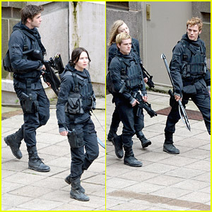 Jennifer Lawrence, Josh Hutcherson, & Sam Claflin Are Ready For Combat on 'Mockingjay Part 2' Set