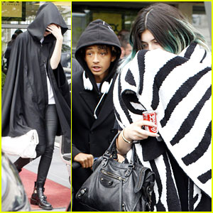 Kylie Jenner & Jaden Smith Arrive in Paris After Reportedly Kissing at Kim & Kanye's Wedding!
