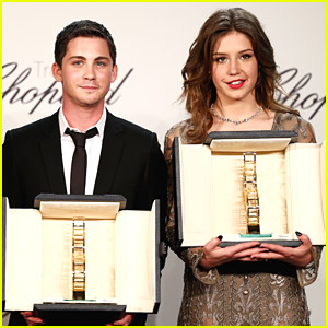 Logan Lerman & Adele Exarchopoulos Receive Trophée Chopard at Cannes 2014