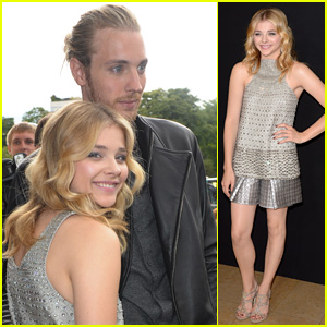 Chloe Moretz Stuns in Silver at Armani Prive Fashion Show