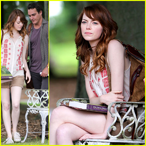 Emma Stone Chats Up Joaquin Phoenix During Park Scene for Woody Allen Film