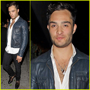 Ed Westwick Shows Off Some Bare Chest in His Unbuttoned Shirt