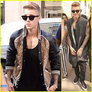 Justin Bieber Knows How to Rock Fur Varsity Jacket In Paris