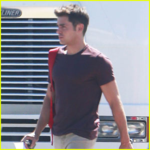 Zac Efron Shows Off His Buff Arms On His Way to Set!